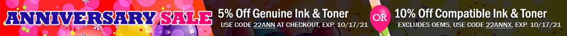 Save 10% on Compatible & Remanufactured Ink & Toner Cartridges (excludes OEM), or 5% Off Genuine OEM Printer Ink.